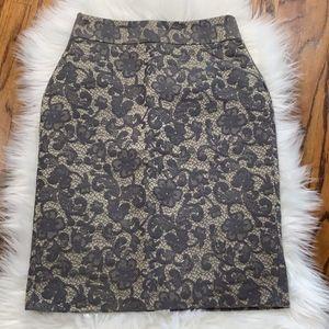 Banana Republic Grey Lace Jacquard Pencil Skirt